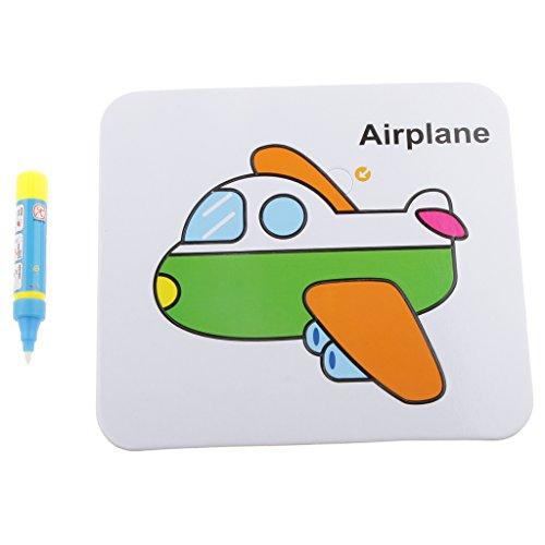 【ノーブランド品】段ボール 書く パズル おもしろいおもちゃ ペン付き 子供 色&形の認識 贈り物 全6パタン - 飛行機の商品画像