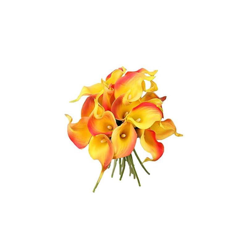 """silk flower arrangements packozy 20 pcs artificial flower calla lily bridal wedding bouquet lataex bouquets 14.17"""" for home party decor (orange)"""