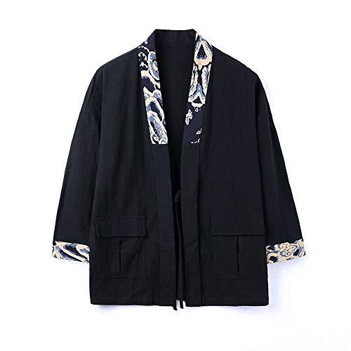 Masvis 가디건 일본식 파커 맨즈 7부 칠부 소매 하오리운무늬 톱스 재킷 아우터 옷 큰 사이즈 봄과 여름