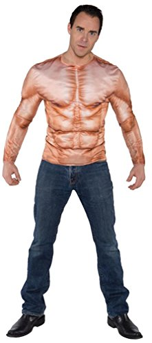 [Underwraps Men's Photo Real Shirt - Muscles Padded, Tan, One Size] (Last Minute Halloween Costumes Ideas For Adults)