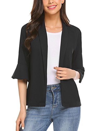 Gfones Women's Casual Slim Fit Office Jacket Bell 3/4 Sleeve Blazer, Black, Medium by Gfones
