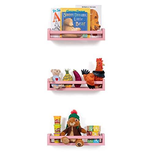 Set of 3 Children's Wall Shelf Wood 17.5 Inch Multi-use Bookcase Toy Game Storage Display Organizer (Light pink) -