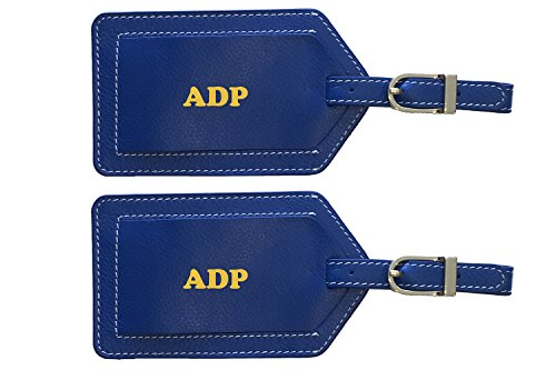 Cobalt Silver Foil (Personalized Monogrammed Cobalt Blue Leather Luggage Tags - 2 Pack)
