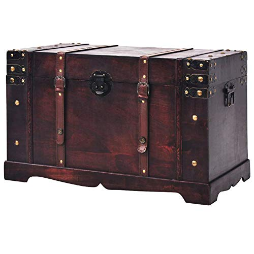 BLUECC Vintage Wood Treasure Chest Storage Trunk Brown 26