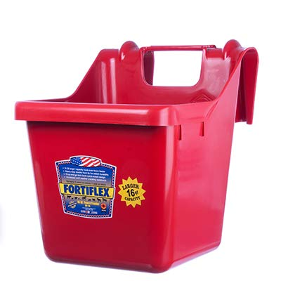 Fortiflex Hook Over Fence Feeder for Dogs/Cats and Horses, 16-Quart, Red