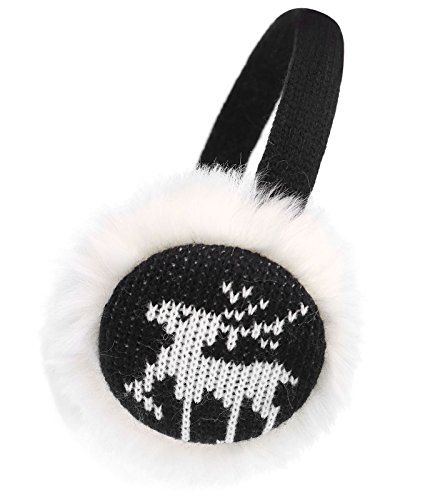 Kids Girls Plush Faux Fur Winter Knitted Reindeer Earmuffs Ear Warmer - Winter Reindeer