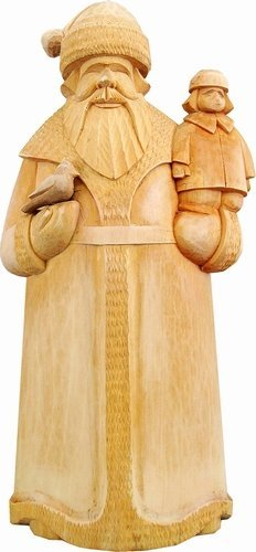 G.Debrekht U21599-21 Other Collections Tiny Tims Santa 12 in. Boy On Hand- Woodcarved Santa