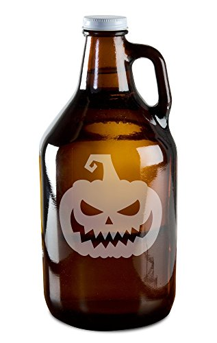 Scary Jack O' Lantern Hand-Made Etched Glass Beer Growler 64 oz -