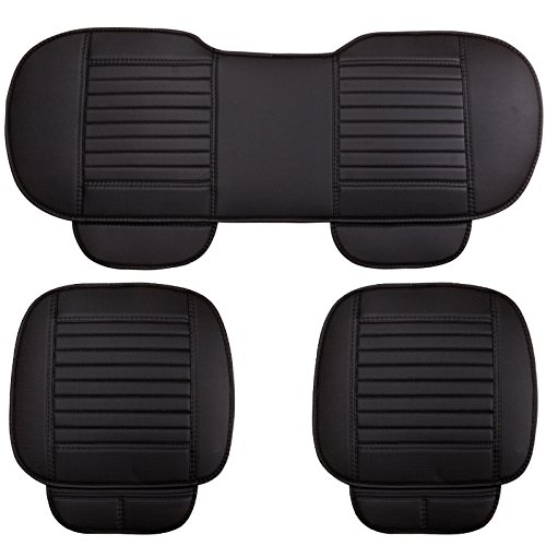 EDEALYN Front 19.5× 21 inches, Rear 53 × 19.5 inches PU Leatherette Car Interior Accessories Seat Cushion Pad Mat Cover for Auto Car Chair car seat Covers Full Set of 3 (Black)
