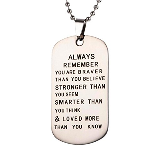 (Kintaz Pendant Necklace & Keychain Set - Dog Tag Military Stainless Steel Inspirational Jewelry Gifts Family Friend Gift Unisex (B))