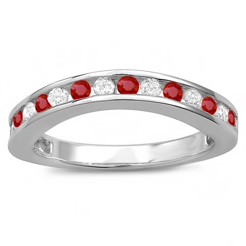 18K White Gold Round Ruby And White Diamond Ladies Curved Guard Matching Bridal Wedding Band (Size 9) - Ruby Bridal Ring Guard