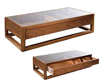Rectangular Display Coffee Table Walnut Amazoncouk