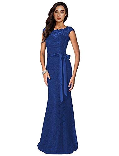 kleid Elegant Cocktail Brautjungfer Damen Irenephil Kleid Spitzen Blau Fishtail Abend 46 kleid Langes Rückenfrei qPUwWE5E