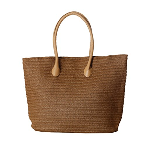 Zipper Womens Shoulder Dark Handbag Casual Straw Beach Tote Bag YOUJIA Brown pXngwqRdd
