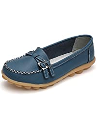 Lanmay Womens Leather Flat Slip On Loafers Casual Moccasin Walking Shoes