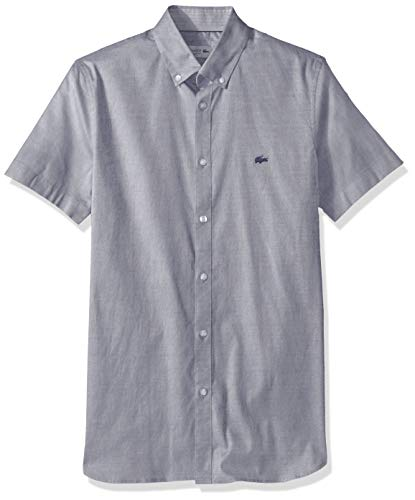 Lacoste Men's S/S Solid Stretch Pinpoint Collar Slim FIT Woven Shirt, Navy Blue, 16½