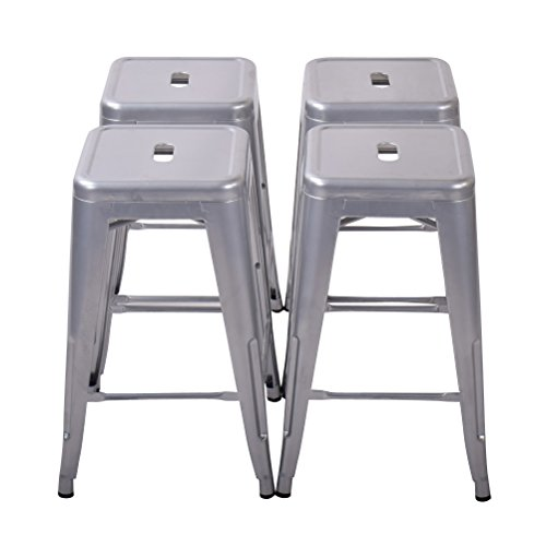 Changjie Furniture 26 High Backless Metal Bar Stool for Indoor-Outdoor Kitchen Counter Bar Stools Set of 4 26 inch, Light Silver
