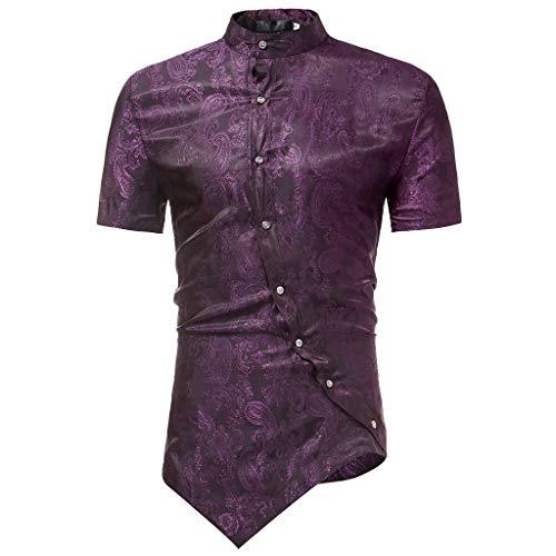 Muscle Royal Fit Robemon✪tissu Bronzant Garçon shirt Homme Blouse Col Tee Manche Chinois Courte Shirt Printed T Voilet Top Irrégulière T Adolescents Slim 5wOzpqxw