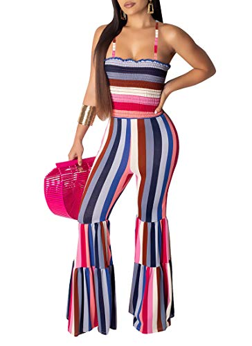 (One Piece Jumpsuits Rompers for Women. Sleeveless Off Shoulder Boho Polka Dot Floral Printed Bandage Bell Flare Pants Bodysuit Rose Red XL)