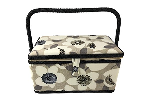 Medium Rectangle Sewing Basket Box with Tray Pincushion 11''x7''x6.5'' (Medium 11''x7''x6.5'', Beige with White Flowers) by Allary