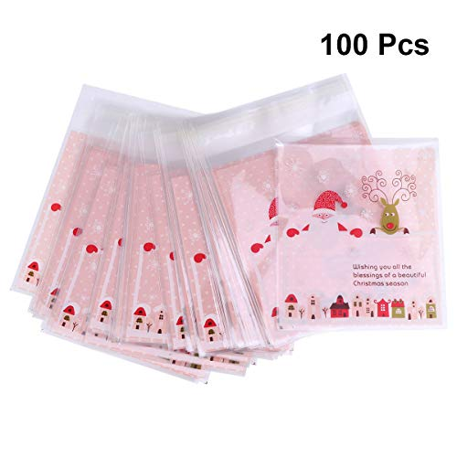 (Christmas Cookie Bags Self Adhesive Bags for Candy Treat Chocolate Clear Gift Bag with Santa Claus andreindeer 100PCS)