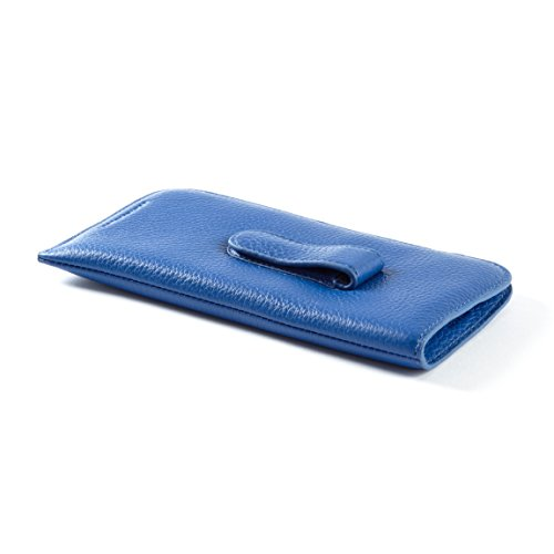 Soft Eyeglass Case with Clip - Full Grain Leather - Cobalt ()
