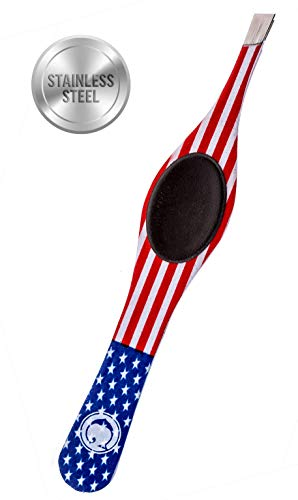 Price comparison product image Coco's Closet Tweezers for Eyebrows - Surgical grade Stainless Steel Slant USA Flag Tweezer - Precision for Ingrown Hair Removal