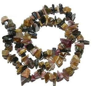 Steven_store NG1959 Pink & Black Medium 5mm - 12mm Tourmaline Gemstone Chip Beads 15