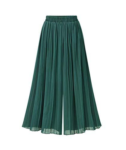 Donna Elastica Pantaloni Colori Verde Vita Pantaloni Gamba Larga Eleganti Sciolto Pantaloni Tempo Pantaloni Fashion Pieghe Casuali Leggero Lannister Costume Palazzo Solidi Chiffon Estivi Libero Femminile xAdpXXq