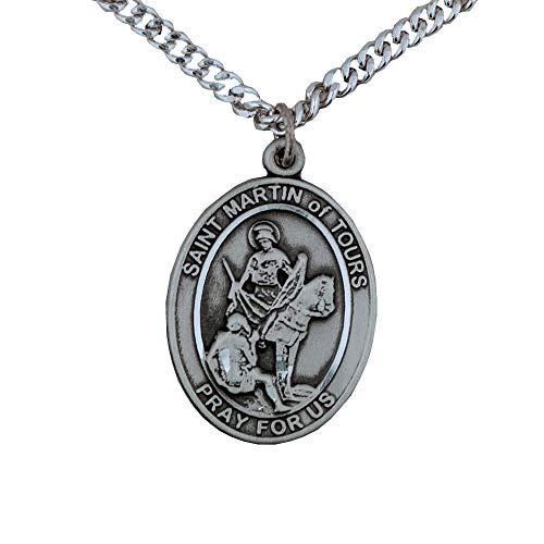 Pewter St. Saint Martin Of Tours Medal Pendant Necklace Comes With A 24 Inch Stainless Silver Curb Chain With A Prayer To St Anthony Prayer Card (Novena Prayer To St Anthony Of Padua)