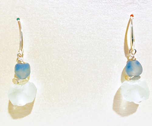 African fair trade crushed recycled glass beads blue swirl and white dangle drop earrings with sterling silver plated beads and sterling silver plated earring wires. Handmade one of a kind (Swirl Glass Bead Earrings)