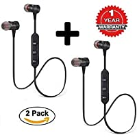 Zaptin Pack of 2 Magnetic Bluetooth Attractive Headphone with Noise Isolation and Hands-Free Mic and Buttons with Magnetic Earbuds Secure Fit for Gym, Running & Outdoor with Built-in Microphone