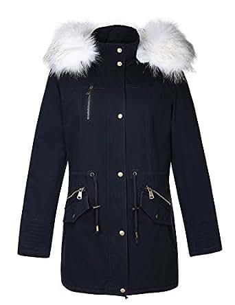 Amazon.com: Bellivera Women's Parka Faux Fur Collar Twill