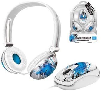 Trust Urban Evening Cool - Pack de Auriculares y ratón, Blanco y Azul: Amazon.es: Informática