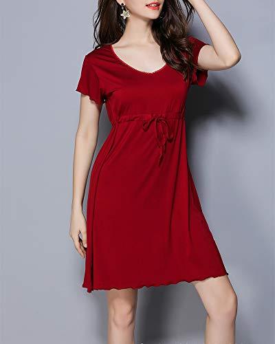 Camicia Donna Abito Elegante Vino Pigiama Notte Gonna Corte Rosso Vestito Manica Casual da qrwE46pq