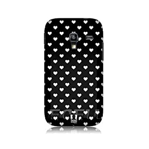 Hearts Black and White Pattern Protective Back Case Cover for Samsung Galaxy Ace Plus S7500
