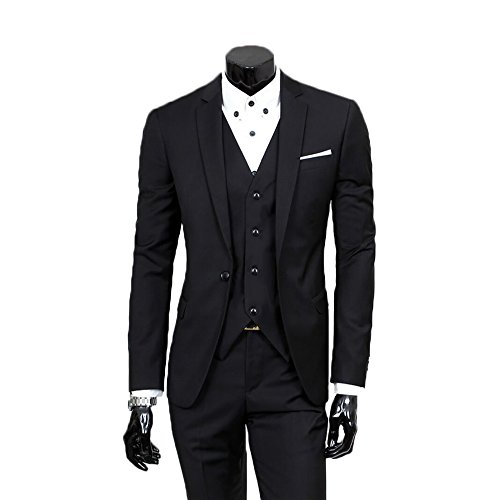 Men's Slim Fit Peak Lapel Suit Blazer Ja - Wearing A Black Suit Shopping Results