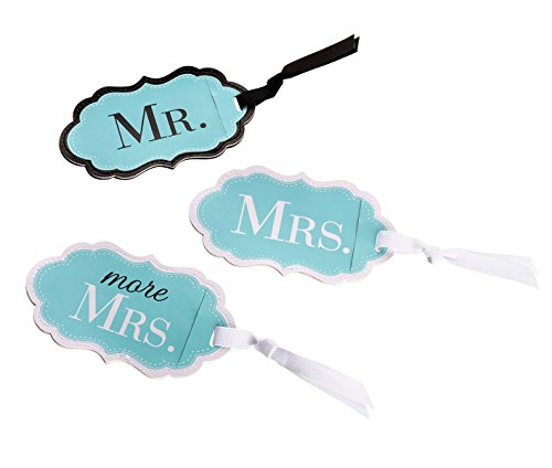 Lillian Rose Mr. Mrs. More Aqua Blue Matching Luggage Tags by Lillian Rose
