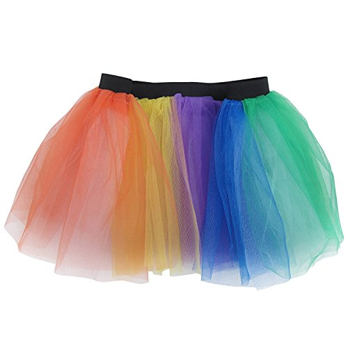 Running Skirt - Teen or Adult Size Princess Costume Ballet Rave Dance or Race Tutu (Rainbow) (Princess Costumes For Teens)