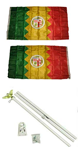 ALBATROS 3 ft x 5 ft City of Los Angeles California 2ply Flag White with Pole Kit Set for Home and Parades, Official Party, All Weather Indoors -