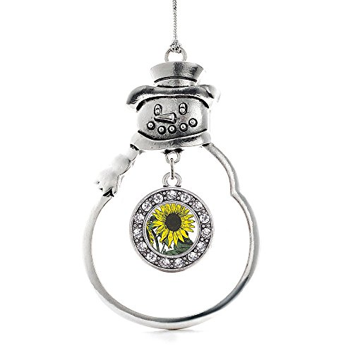 Inspired Silver Sunflower Circle Snowman Holiday Christmas Tree Ornament With Crystal Rhinestones