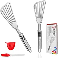 Fish Spatula - Stainless Steel Slotted Turner with Durable 1.2mm Thickness Blade for Fish/Egg/Meat/Dumpling Turning,...