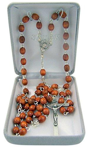Catholic Brown Oval Wood Prayer Bead Rosary Necklace, 23 Inch by Catholic Rosary Necklaces
