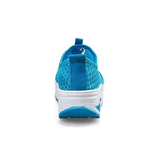 de Florales Azul ailishabroy Competición Plataforma la Mocasines la Cuña Zapatillas de en de de Resbalón Mujer Huecos Running UPcHxCqvwU