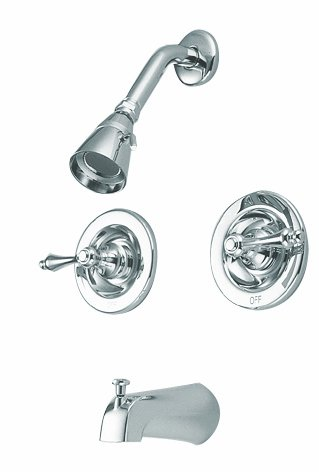 Kingston Brass KB661AL Twin Handles Tub Shower Faucet with Metal lever handle, Polished Chrome