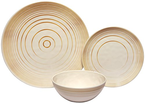 Melange 12-Piece 100% Melamine Dinnerware Set (Gold Timber Collection ) | Shatter-Proof and Chip-Resistant Melamine Plates and Bowls | Dinner Plate, Salad Plate & Soup Bowl (4 Each) ()