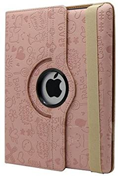 KolorFish Happy Funky Printed 360 Degree Rotation PU Leather Auto Wake/Sleep Flip Book Cover for Apple iPad Air, iPad9.7 2017/2018  Pink  Touch Screen