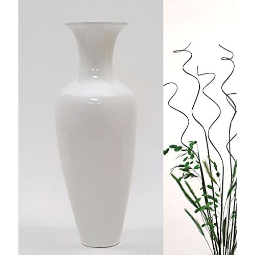 Green Floral Crafts GreenFloralCrafts 27 Inch Classic Bamboo Floor Vase with Branches & Botanicals Kit - Lacquer White