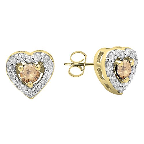 Dazzlingrock Collection 10K 3 MM Each Round Champagne & White Diamond Ladies Heart Shaped Stud Earrings, Yellow ()