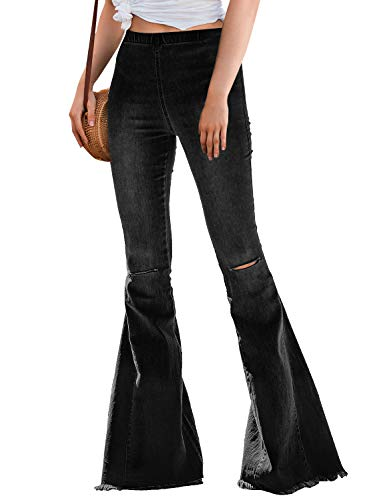 LookbookStore Womens Ripped Bell Bottom Raw Hem Denim Pants Wide Leg Flare Jeans Black Size X-Large